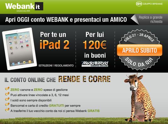 Conto webank, vinci un ipad2