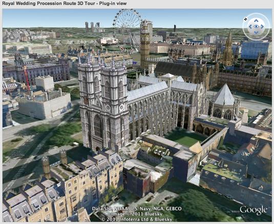 Il corteo nuziale in 3d su Google Earth
