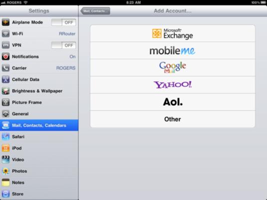 Ios 42 ipad settings mail account types
