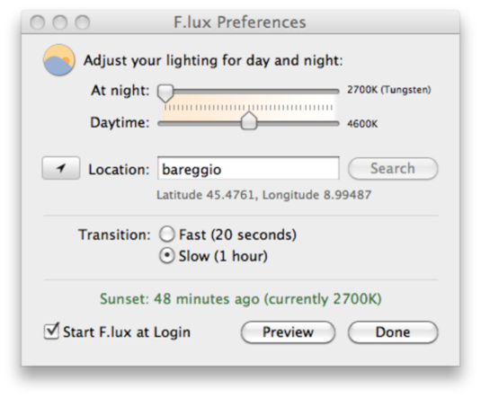 F lux Preferences