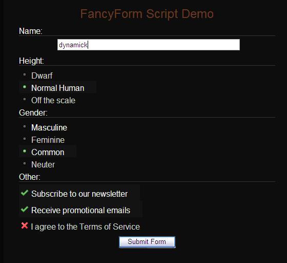 Esempio di FancyForm