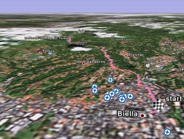 Il giro d'italia 2007 su Google Earth
