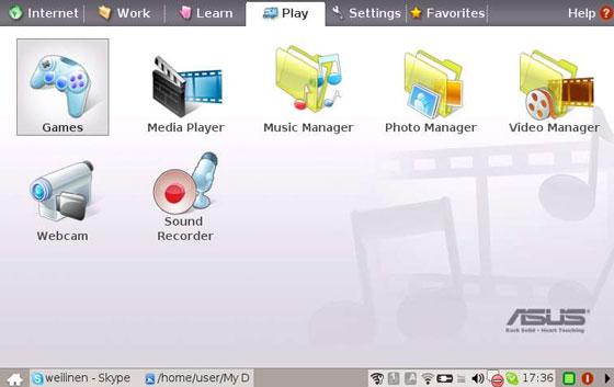 L'interfaccia grafica di EEE PC di Asus