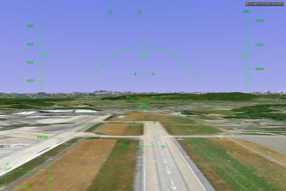 Simulatore di volo in azione