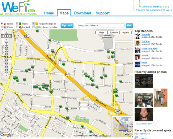 wefi, la mappa degli  hotspot wifi