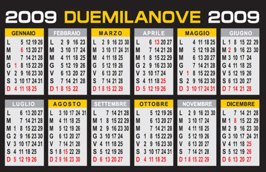 Calendario 2009 in formato tascabile, cartolina