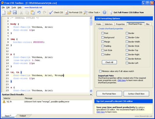 Editor CSS, editor di fogli di stile